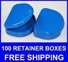 100 Dark Blue Denture Retainer Box Orthodontic Dental Case Mouth Ortho Brace