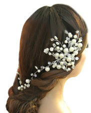 Women Wedding Bridal Party Pearl Floral Hair Pin Clip Headwear White