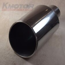 """Exhaust Tip Tail Pipe 15"""" inch Long 4"""" Inlet 8"""" Outlet S/S Rolled End Angle Cut"""