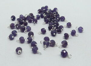 25 Pieces Natural Amethyst Gemstone Beads Links Charms 925 Sterling Silver