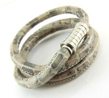 Leather Bracelet In Greyish Brown Snake Skin Effect With Magnetic Silver Clasp