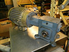 1 HP Baldor Motor VEM3581T w/ Falk Gearbox, 1206WOQF1A, 20:1 Ratio, Used