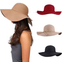 Women Ladies Floppy Wide Brim Cloche Derby Hat 100% Wool Bowler Cap Bowknot Band