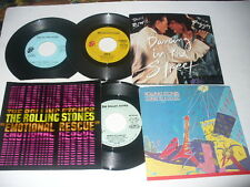 Rolling Stones 2 Promo 45s, 3 Pic Sleeves David Bowie Angie Emotional Rescue