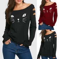 AU Women Cat Cold Shoulder Loose Casual Long Sleeve T-Shirt Tops Blouse Pullover