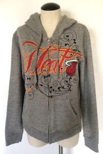 NBA Miami Heat Hoodie Sweatshirt Gray NBA 4 Her By UNK Rhinestones Women's XL