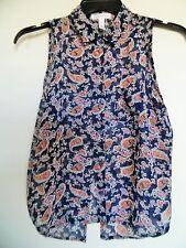 Ambiance Apparel Womens Sleeveless Shirt Size Large Sheer Blue Paisley  Top