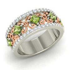 1.40 Ct Natural Peridot Wedding Gemstone Band Solid 950 Platinum Bands Size N P