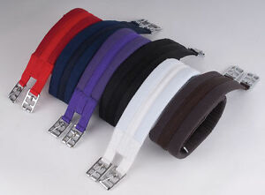 """Cotton Padded Girth Black, Brown, White, Red, Purple, Navy, Sizes 16"""" to 56"""""""