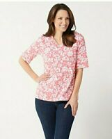 Denim & Co. Printed Jersey V-Neck Elbow-Sleeve Top, Coral, X-Small A352781