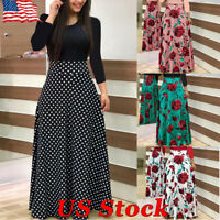 US Women Boho Polka Dot Floral Jersey Gypsy Long Maxi Full Skirt Beach Sun Dress