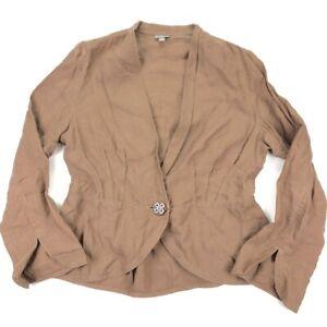 J Jill Women's 100% Linen 1-Button Blazer Jacket Brown • MEDIUM