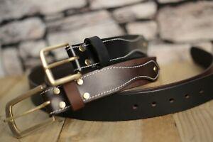 "Real Leather Belt Handmade Top grain 1.5"" Wide Leather Brass buckle Bespoke. UK"