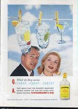 1960 Fleischmann's Gin PRINT AD cute hanging drinks on a clothes line