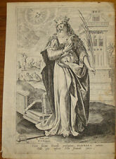 Stampa incisione Santa Barbara Sadeler de Vos engraving saint kupferstich antica