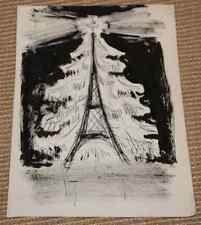 Dessin Charles Kiffer (1902-1992) étude de carte Noël Tour Eiffel Paris env 1960