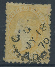 South Australia SA 10d QV TEN PENCE on 9d Yellow  Black Text Surcharge  1870 CDS