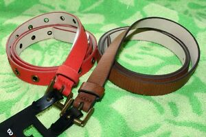 2 Style & Co. Belts Skinny Thin Brown and Orange Grommets Red Faux Leather XL