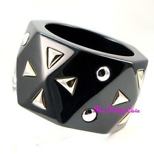 Designer Catwalk 2018 Large Chunky Black Resin Heavy Geometric Statement Bangle