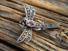 """fly faceted amethyst 1"""" long Sterling silver artist made brooch dragon"""