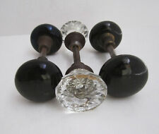 3 Antique Door Knob Sets (2) Black Porcelain and (1) 12 point Clear Glass