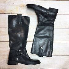 Nine West Vintage America Tall Black Leather Riding Engineer Boots Take Down 6 M