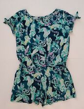 LILLY PULITZER Camryn Tie Sleeve Romper Tidal Wave in the Details Girl Sz L 8-10