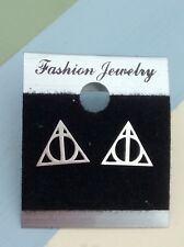 Free Gift Bag Harry Potter Deathly Hallows Cute Stud Silver Plated Earrings Xmas