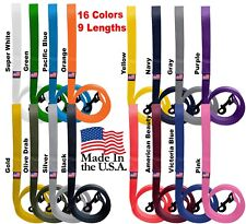 "Dog Leash Short Long Lead Obedience Training 1"" Many Colors/Lengths Made In Usa"