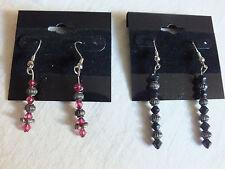 Handcrafted Swavorski Crystal Dangle Earrings 2 Pair Silver w/Rose & Black