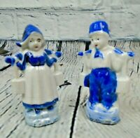 Vintage Dutch Boy & Girl Porcelain Figurines Carrying Water Buckets Japan