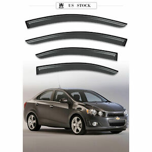 Window Visor Sun Rain Guards Dark Smoke, 4-Piece Set for 12-20 Chevrolet Sonic