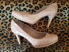 """NEW LOOK Nude Patent Leatherette 3.5"""" High Slim Heel Platform Court Shoes 7 WIDE"""