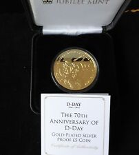 2014 SILVER PROOF GOLD PLATED TDC £5 COIN BOX + COA 70th ANNIVERSARY OF D-DAY