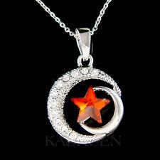 w Swarovski Crystal ~Islam Islamic CRESCENT MOON Wish Red STAR Flag God Necklace