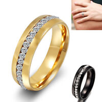 Men Women Stainless Steel Crystal Rhinestone Wedding Finger Band Fashion Jewelry