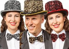 Mens Ladies Sequin Top Hat New Year Christmas Disco Fancy Dress Costume Outfit
