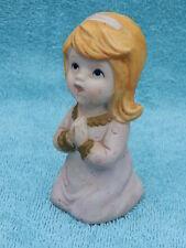 "HOMCO - MARK QUERY, Porcelain Bisque, Blonde Girl Kneeling Saying Prayers 4.25"""