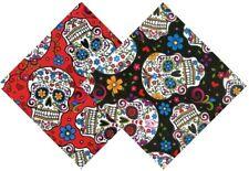 Folk Art Folkloric Skulls Floral on Red Quilt Cotton Fabric
