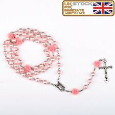 FIRST HOLY COMMUNION ROSARY BEADS for Girls Boy Pink Faux Pearl Rosaries UK