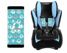 PERSONALIZED BABY TODDLER CAR SEAT STRAP COVERS BLUE GRAY ELEPHANTS