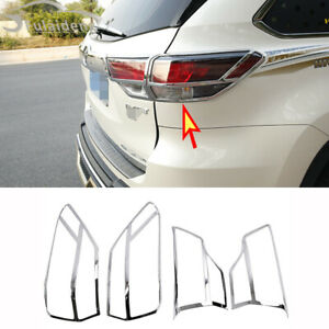 4P For Toyota Highlander 2015-19 ABS Chrome Rear Tail Light Cover Trim Molding