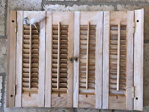 "Vintage Wood Interior Louver Plantation Window Shutters Rustic 27 1/2""w x 20"" h"