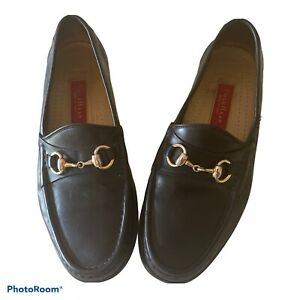 Cole Haan Made in Italy Black Leather Gold Horsebit Dress Loafer 9M Preppy