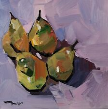 JOSE TRUJILLO IMPRESSIONISM OIL PAINTING 12X12 STILL LIFE PEARS FRUIT ORIGINAL