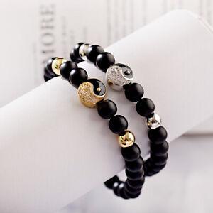 Charm Natural Matte Onyx Beads Stone Yin Yang Beaded Couple Bracelets Jewelry