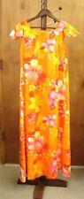 Mumu Dress Vintage Made in Hawaii Size 6 Maxi Dress Orange Yellow Pink Hibiscus