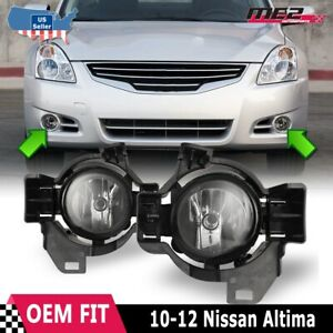For Nissan Altima 10-12 Factory Replacement Fog Lights + Wiring Kit Clear Lens
