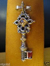 BARBARA BIXBY KEY GARNET CITRINE DIAMOND ENHANCER PENDANT SS 18K GIFT DESIGNER