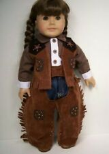 """WESTERN Cowboy Jeans Shirt Chaps Vest Doll Clothes For 18"""" American Girl (Debs)"""